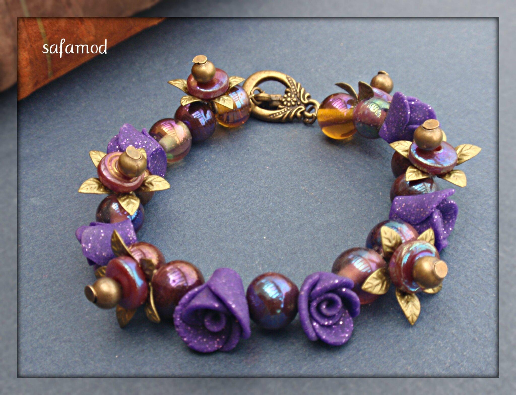 Les fleurs - Bracelet bouquet de fleurs perles Fimo verre