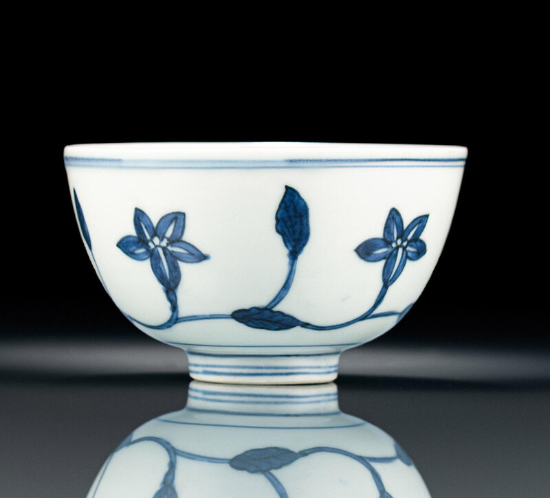 A fine blue and white lily bowl in the style of the Chenghua palace ware, 15th-16th century