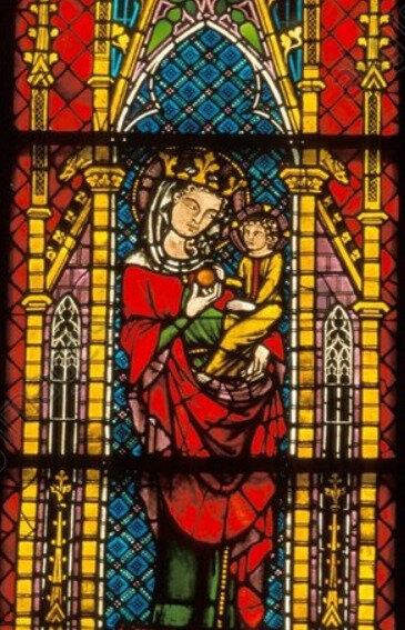 Cathédrale de Fribourg, Marie tenant la graine