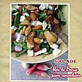 Salade au bleu de bresse & aux poires caramélisées