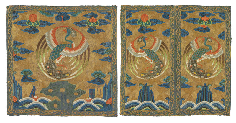 2014_HGK_03371_3416_000(a_pair_of_embroidered_civil_officials_rank_badges_of_peacocks_buzi_kan)
