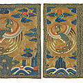 A pair of embroidered civil official's rank badges of peacocks,buzi, kangxi period (1662-1722)