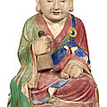 Korean painted gesso and wood figure of a monk, choson dynasty, probably 18th century