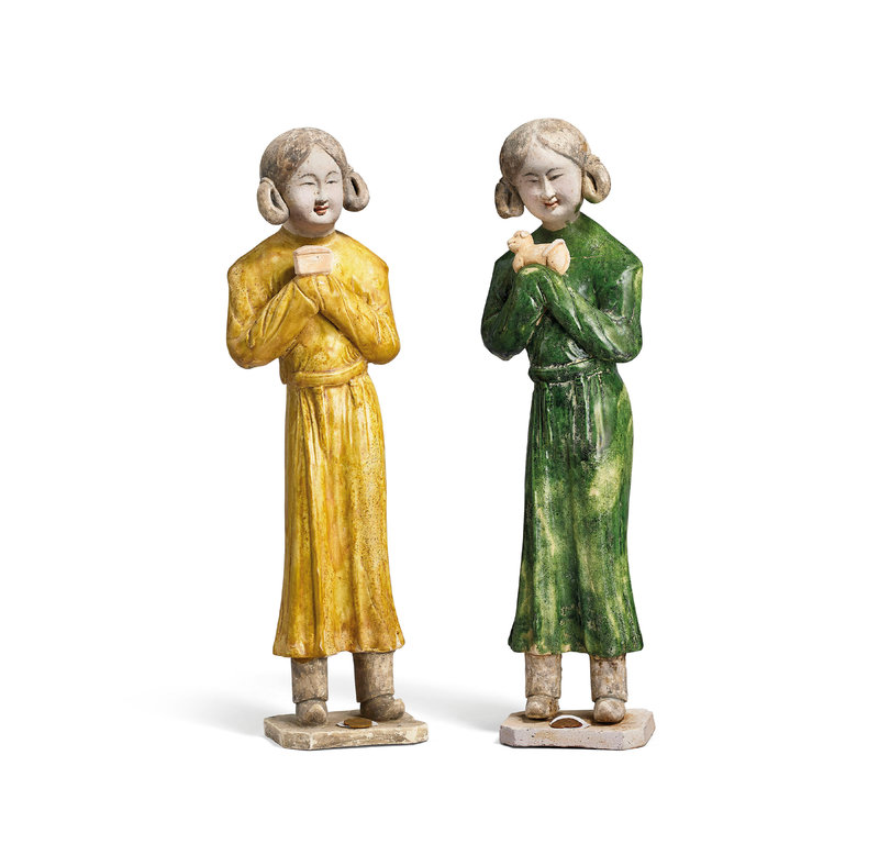 A Pair Of Glazed Pottery Figures Of Ladies, Tang Dynasty (618-907