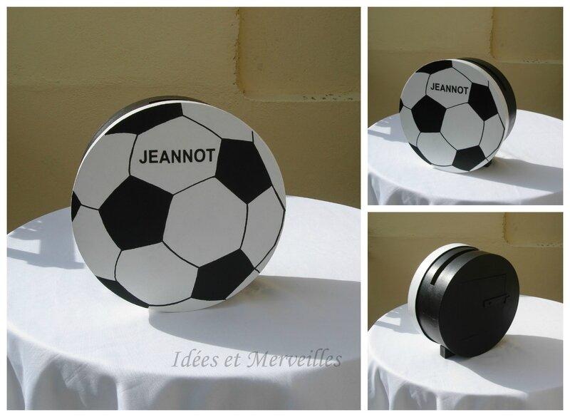 urne football ballon noir et blanc - idee et merveilles