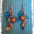 Boucles bleu-argent pendantes (BO46)