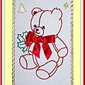 Carte Vœux 2012 Ourson brodé