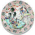 A large famille verte dish, qing dynasty, kangxi period