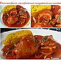 Encornets farcis, riz safrané aux courgettes et aux carottes