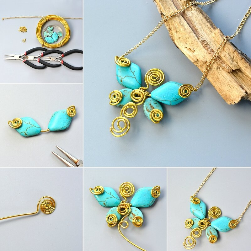 1080-Pandahall-Tutorial-on-How-to-Make-Wire-Wrapped-Butterfly-Pendant-Necklace-with-Turquoise-Beads