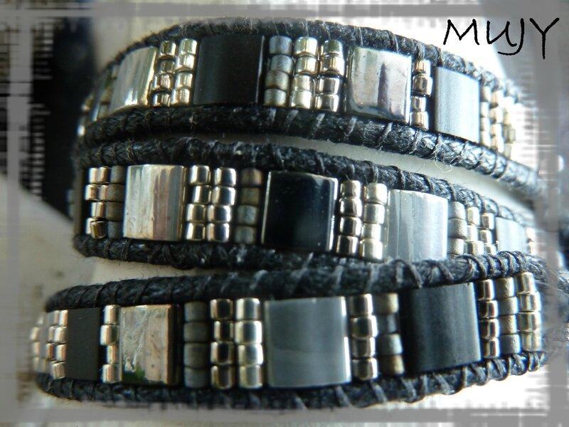 bracelet Wrap noir et gris 3 tours détail suite