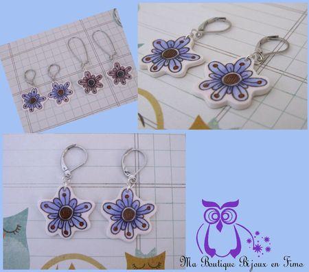 Boucles fleurs dormeuses violet bleuté