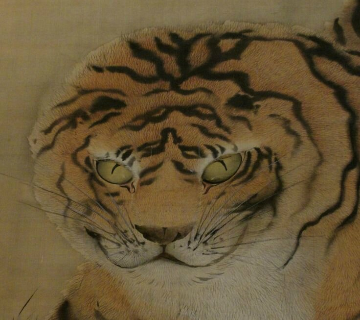 Maruyama Okyo (1733-1795) Scroll painting of Two Tigers Ink and colors on silk 57 in high by 33 in wide (145 cm by 84 cm) Signed and dated 1769