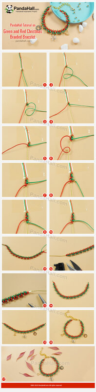 5-PandaHall Tutorial on Green and Red Christmas Braided Bracelet