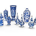 A group of nine blue and white vases, qing dynasty, 18th century