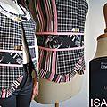 Gilet sans manches femme tendance noir rose dentelle carreaux Chic bustier mod 08C