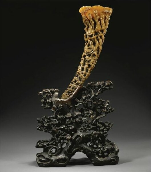 A Large Full-Tip Rhinoceros Horn Carving, Qing Dynasty, 19th Century