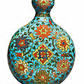 A cloisonné enamel 'lotus' garlic-mouth moonflask, ming dynasty, 15th-16th century
