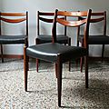 Lot 4 chaises scandinave 60's