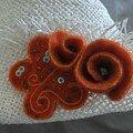broche fleur sur chapeau