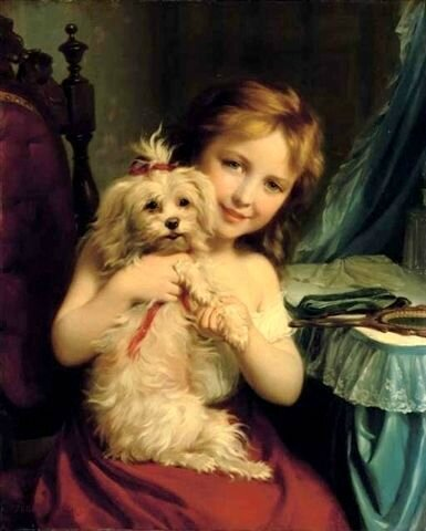 A Young Girl With A Bichon Frise Fritz Zuber-Buhler 1822 – 1896, Swiss