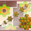Bracelet Fimo fleurs multi anis orange marron (N)