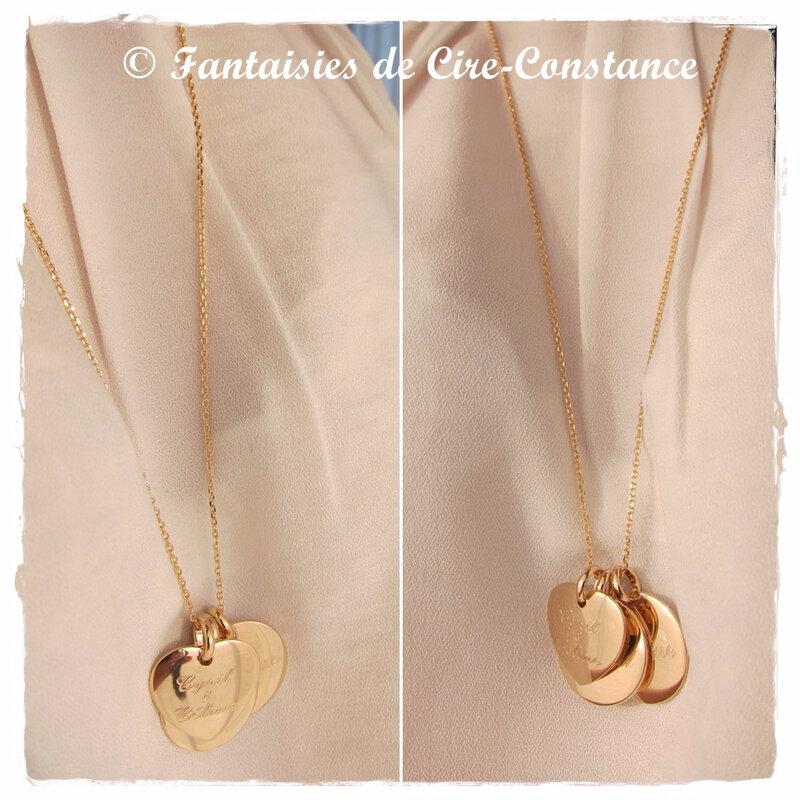 Sautoir Toscane coeur deux médailles PO porté
