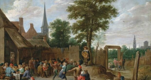 David Teniers the Younger A Village Inn with Peasants Dancing and Merry Making to the Music of a Hurdy-gurdy