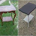 Guéridon - table d'appoint - avant / après