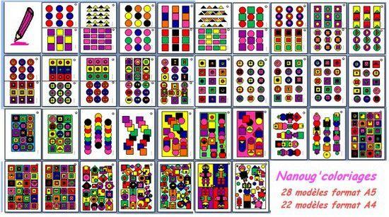 Les nanoug 39 coloriages g om triques le tour de ma classe - Coloriage geometrique ...