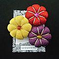 ♥ marcia ♥ broche textile japonisante fleurs potirons - les yoyos de calie