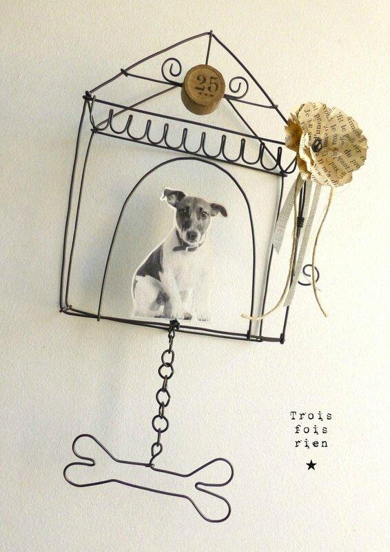 Mini box N°11, fil de fer, wire, chien, trois fois rien