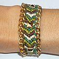 Bracelet Brésilien, chaîne dorée et clous