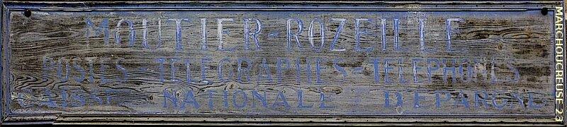 ancienne enseigne de la poste de Moutier-Rozeille