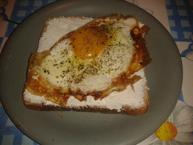 Petit déj:5pp1/2= tartine: 1 Tr grand pain de mie+carré frais 0%+1 oeuf