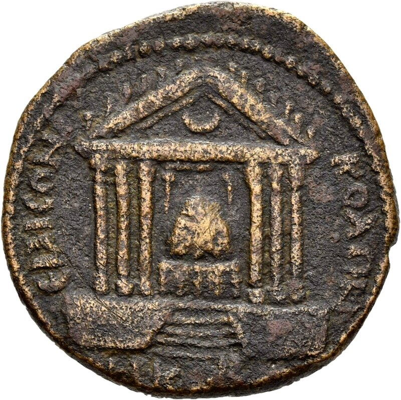 Emesa , back, temple front with the sacred stone of the Elagabal in the temple, 216-217 AD, © State Museums of Berlin, Coin Cabinet