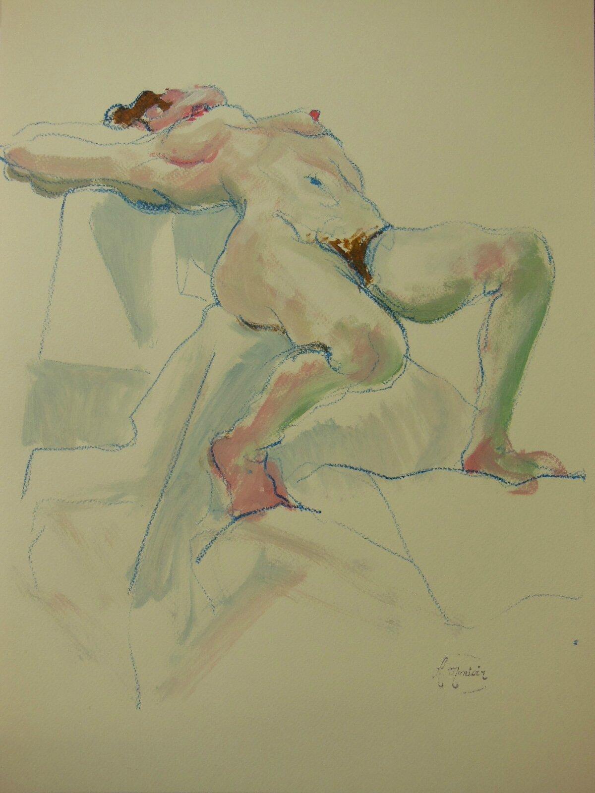 Peinture de nus feminin crayon gras et acrylique sur papier (15)