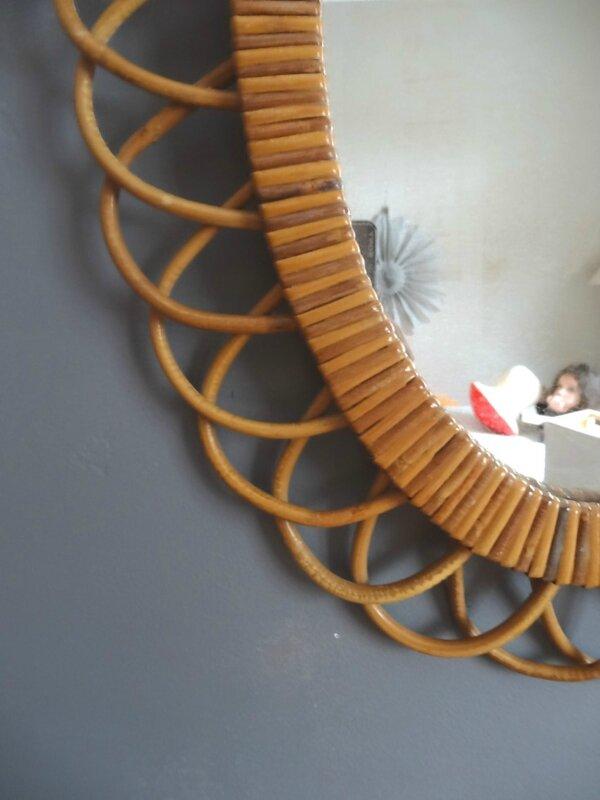 miroir rotin ovale detail
