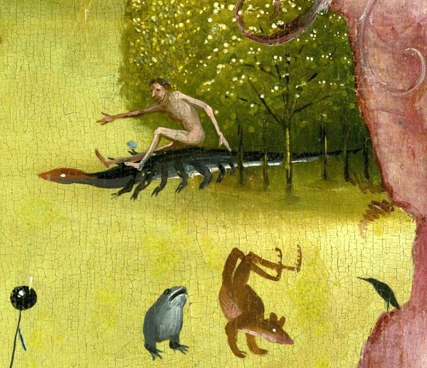 The Garden of Earthly Delights central panel - Detail Man riding a salamander upper left