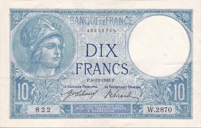 Billet Minerve 10 francs 1916 CR
