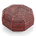 A carved red and black lacquer octagonal box and cover, jiajing six-character incised and gilt mark and of the period (1522-1566