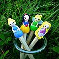 Princesses pour décorer les crayons: cendrillon, blanche-neige, fée clochette, raiponce