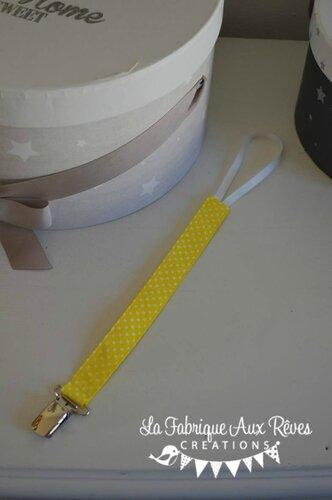 attache tétine sucette bébé jaune à pois