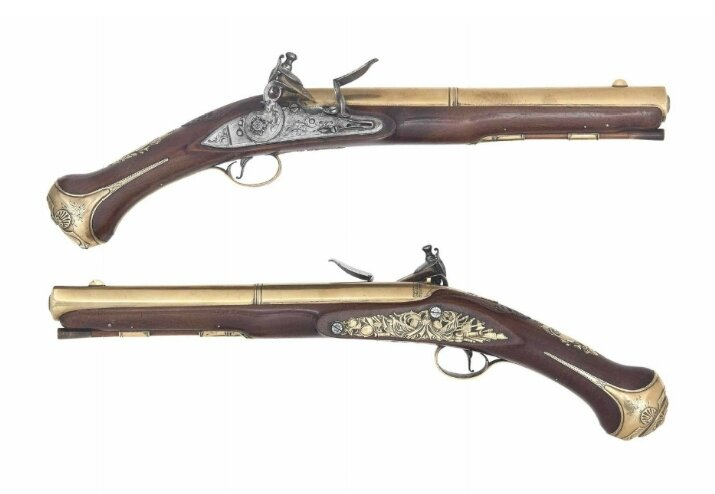 A very rare pair of 'Flintlock' air pistols circa 1770