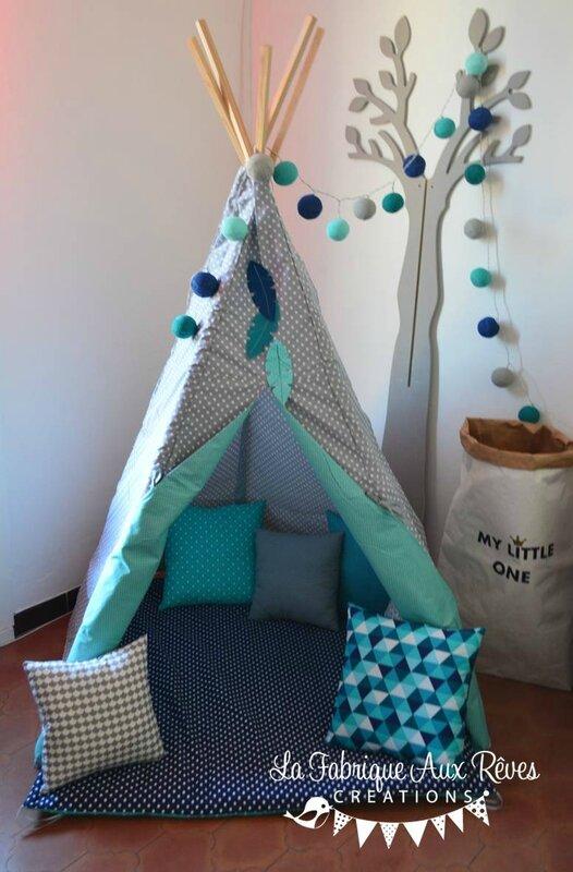 tipi indien gris turquoise caraïbe plume - décoration chambre bébé garçon turquoise bleu marine gris