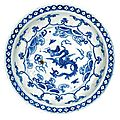 A blue and white 'dragon' dish. ming dynasty