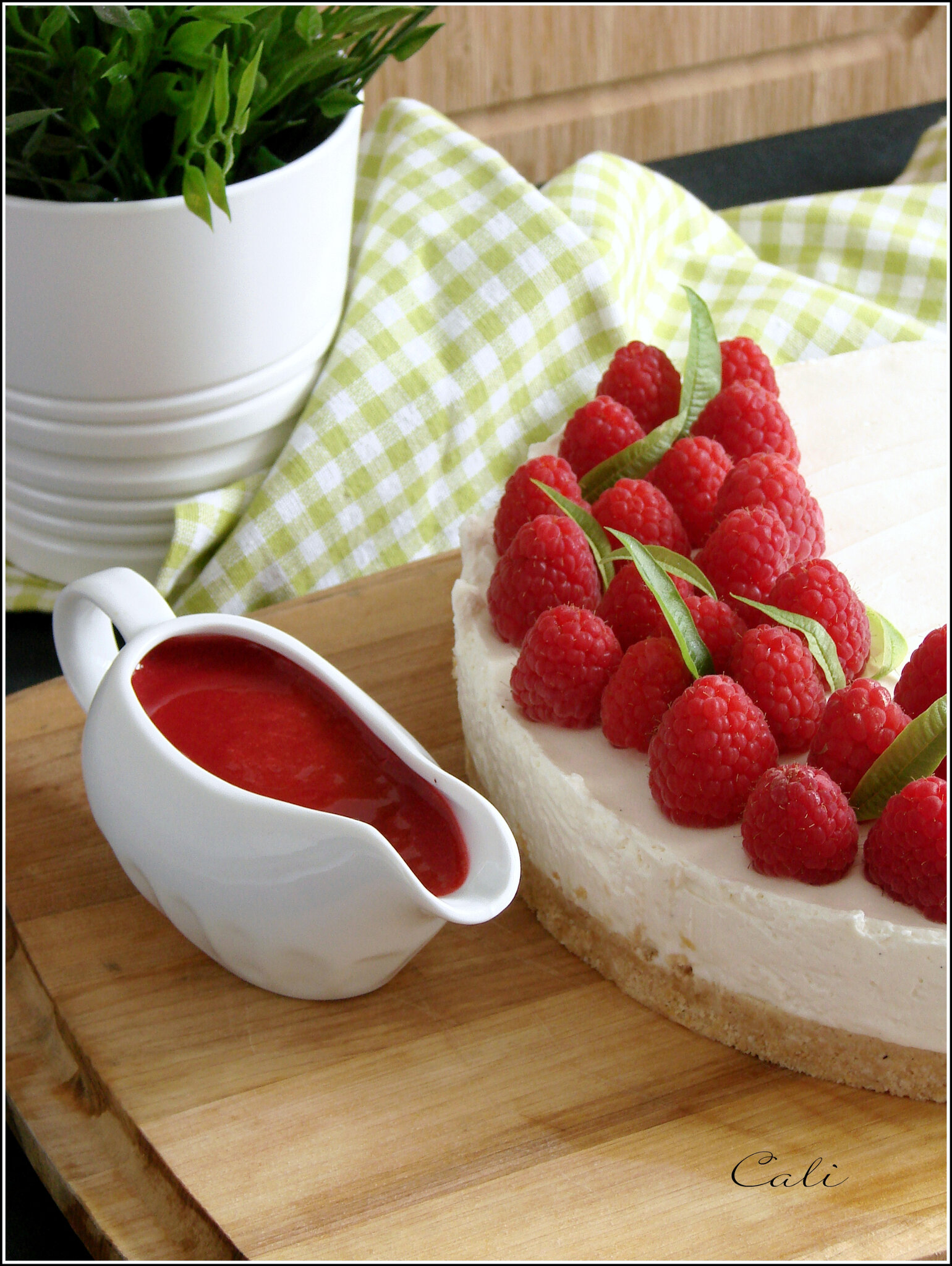 cheesecake sans cuisson a la verveine aux framboises. Black Bedroom Furniture Sets. Home Design Ideas