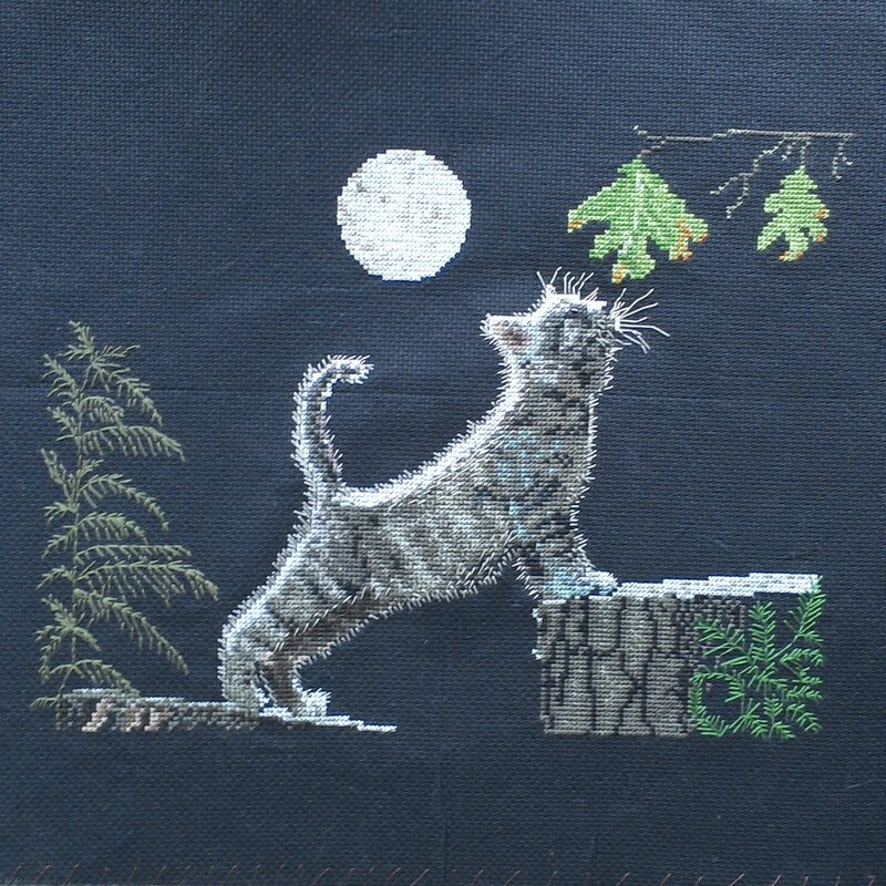 cat chat max's moon la lune de max cross stitch point de croix