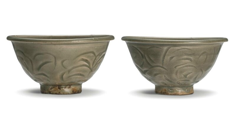 A pair of carved 'Yaozhou' bowls, Northern Song dynasty (960-1127)