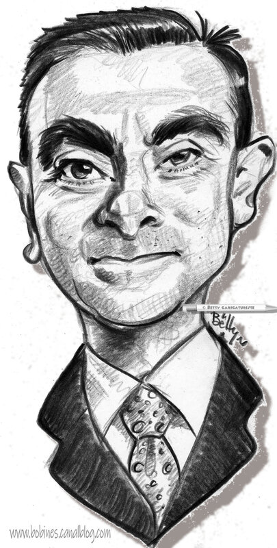 caricature de Carlos Ghosn ancien patron de renault automobiles France